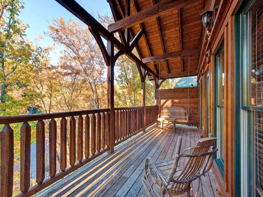 The rear deck may become your favorite space - Not only does it have Adirondack rocking chairs, but the rear deck is also home to