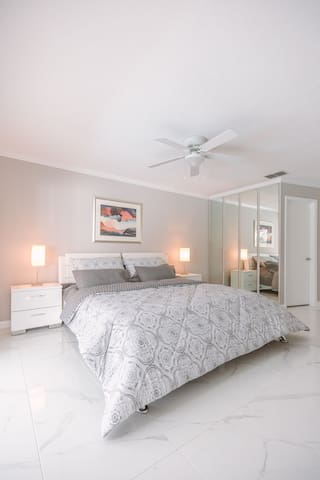 Master Bedroom with large Sliding Door to Pool area and a nice Walk in closet