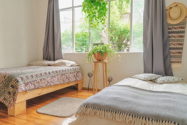 Bright room in the city's bohemian neighborhood