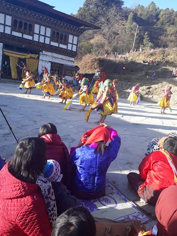 Annual Nganglhakang Tshechu,it falls on end of november every year
