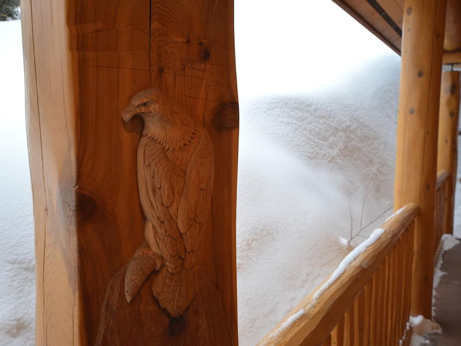Beautiful eagle carving near front door