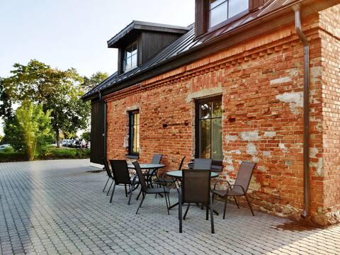 Lake-view apartment with kitchen in Trakai Center