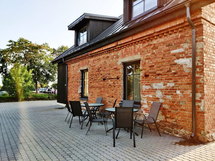 Lake-view apartment with kitchen in Trakai Center