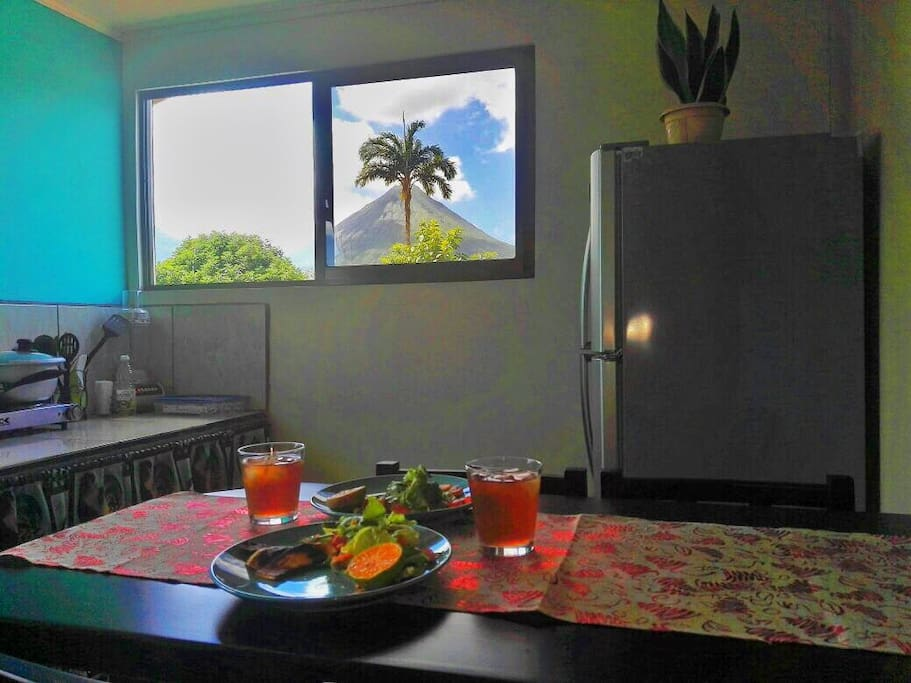 New kitchen windows with amazing volcano view... Have breakfast, lunch and dine as if you were in the volcano!!