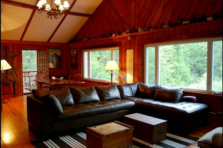 Huge, comfy sofa perfect for lounging and staring out at the Shawagunk Ridge.