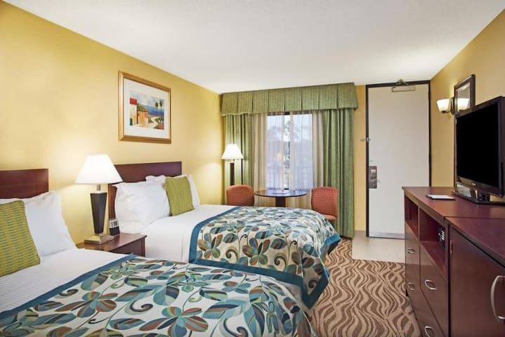Each room includes large flat screen TV!