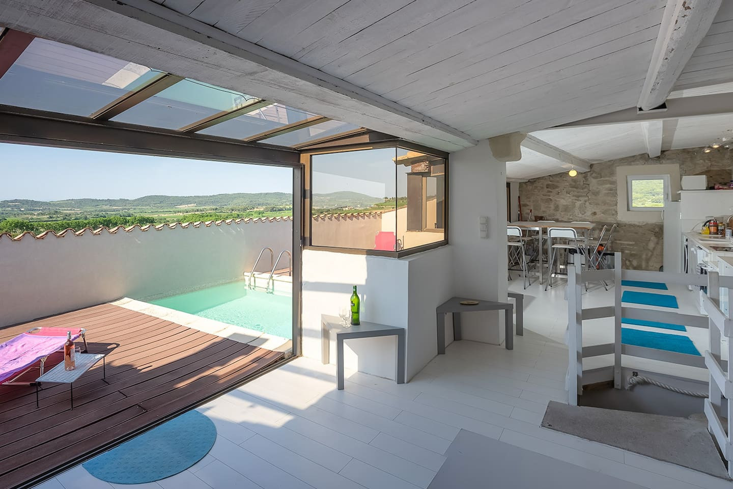 Top floor with roof terrace, pool and summer kitchen.