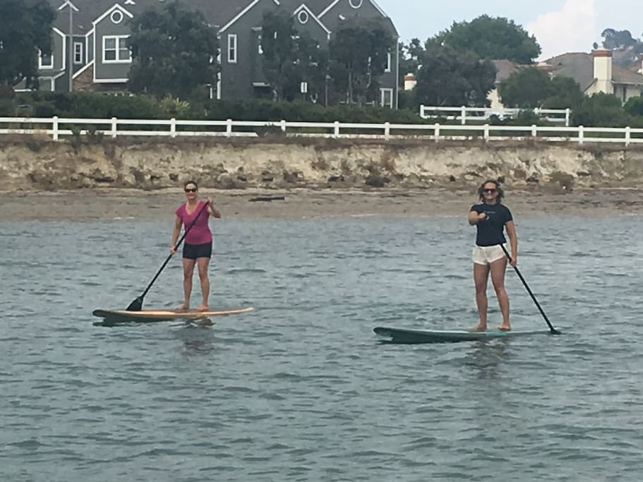 Paddle boarding in the lagoon