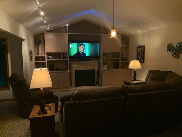 Main living room with Apple TV and full surround sound