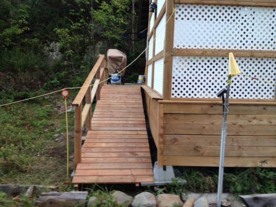 Access to bunky, deck and entrance door is by this ramp.