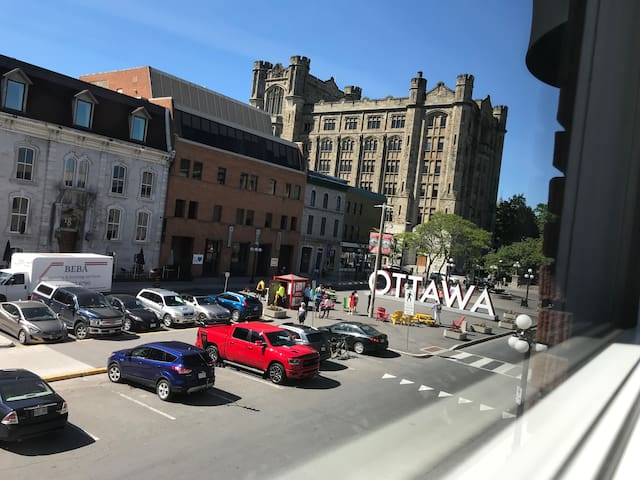 View of the Ottawa sign outside the bedroom windows