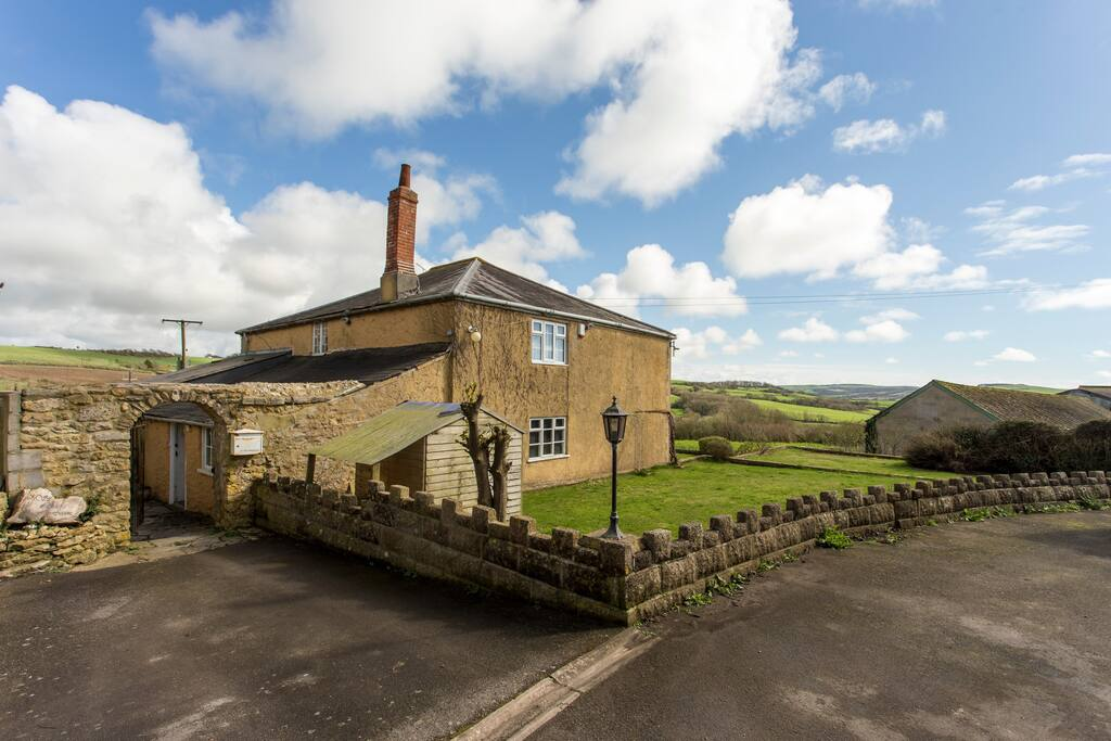 The farm house overlooks the beautiful Dorset countryside.