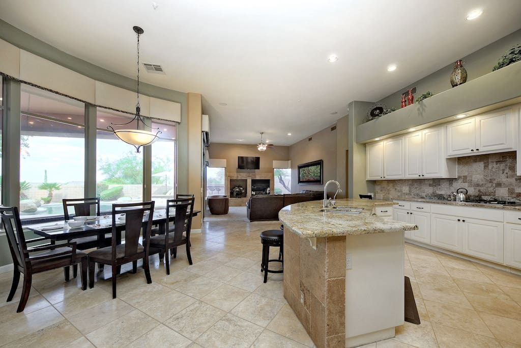 Large open area with living area adjacent to the kitchen