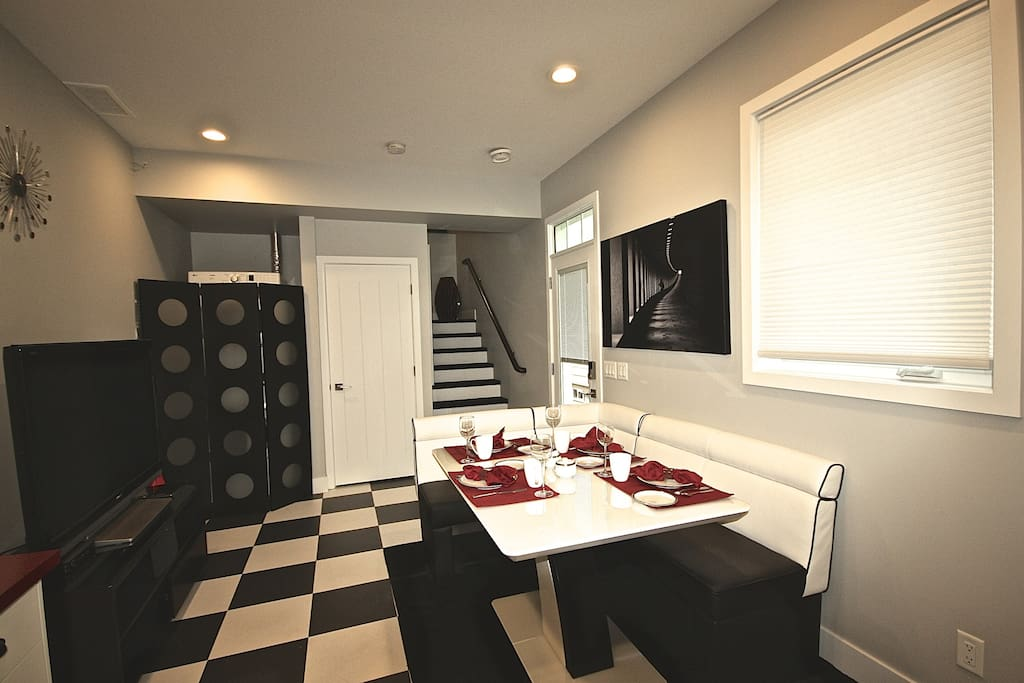 Stairs to bedrooms, bath and patio