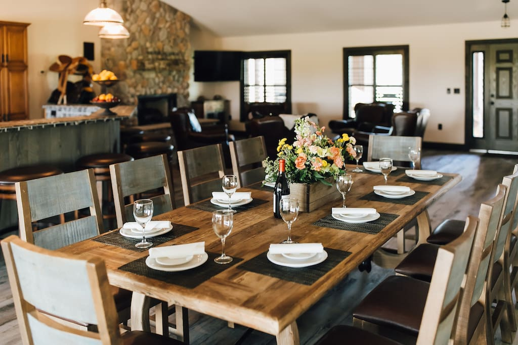 Farm house table with seating for 10 people