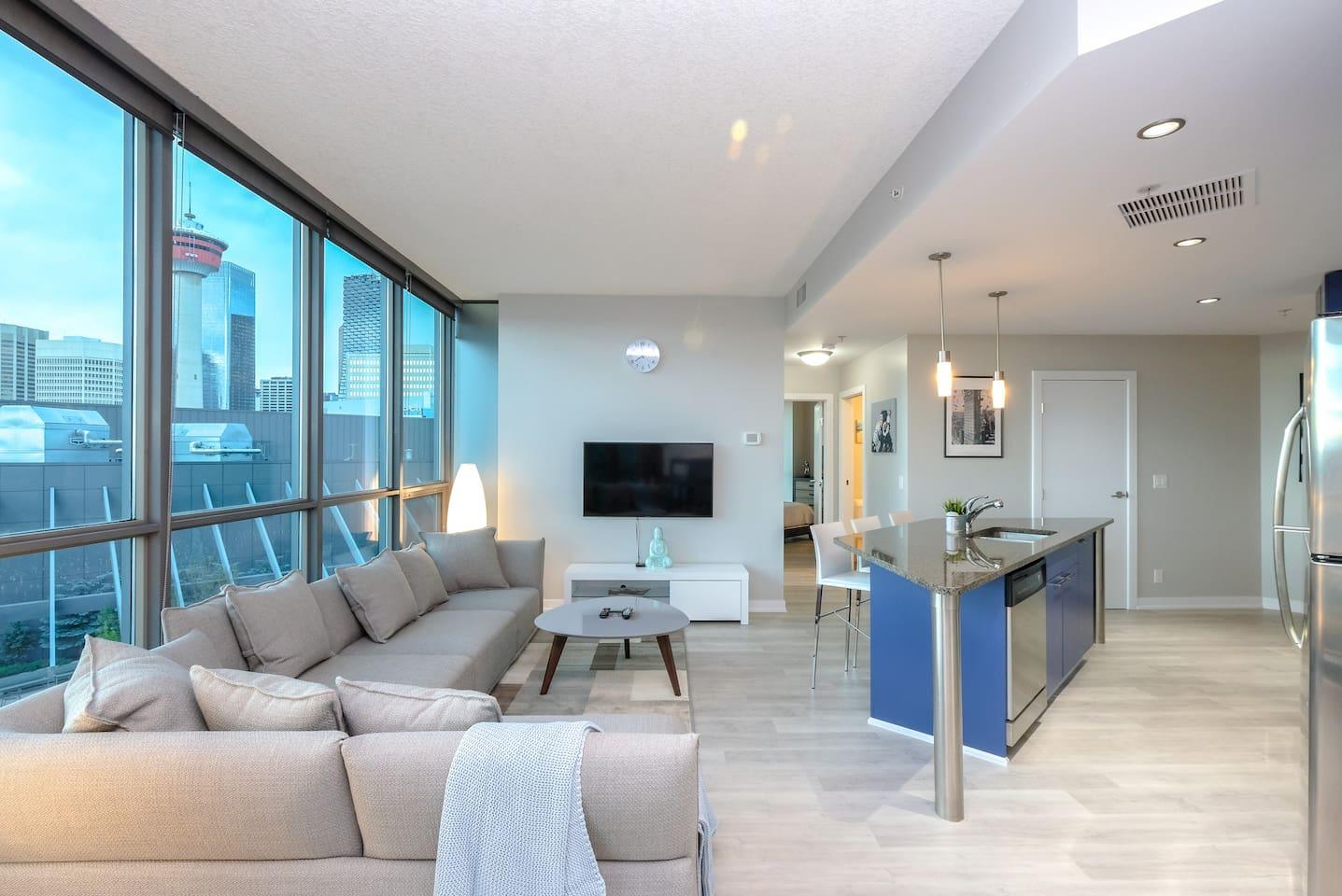 Living room overlooking Calgary Tower