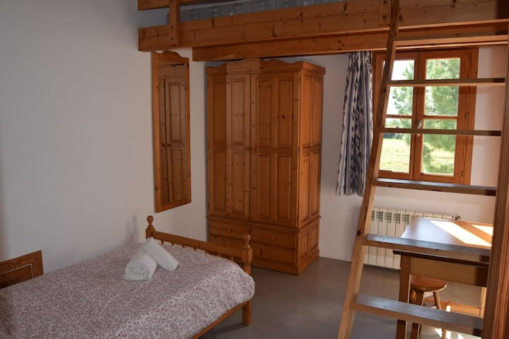 Twin room with a raised platform