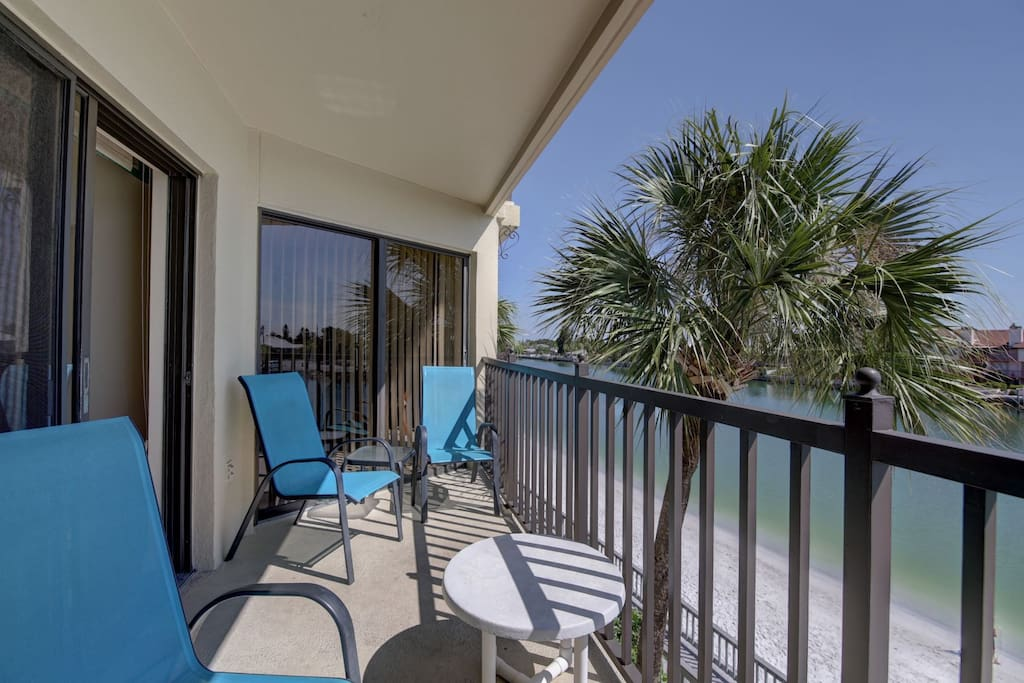 There is access to the balcony from the living room and the master bedroom