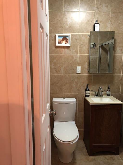 Newly renovated bathroom with a bathtub