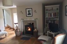 Sitting room stove and library