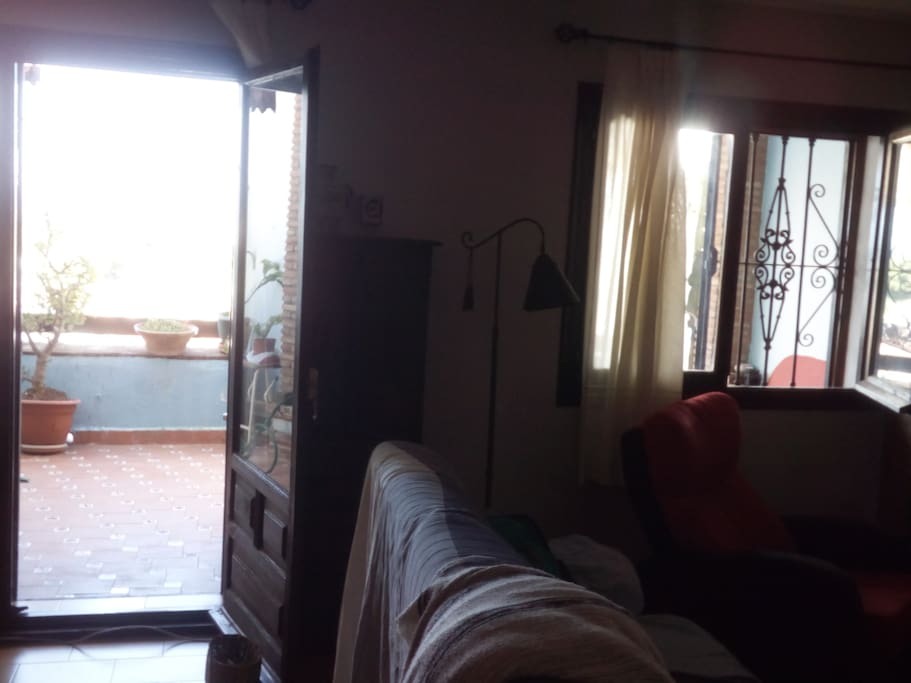 Salon y salida a la terraza de abajo