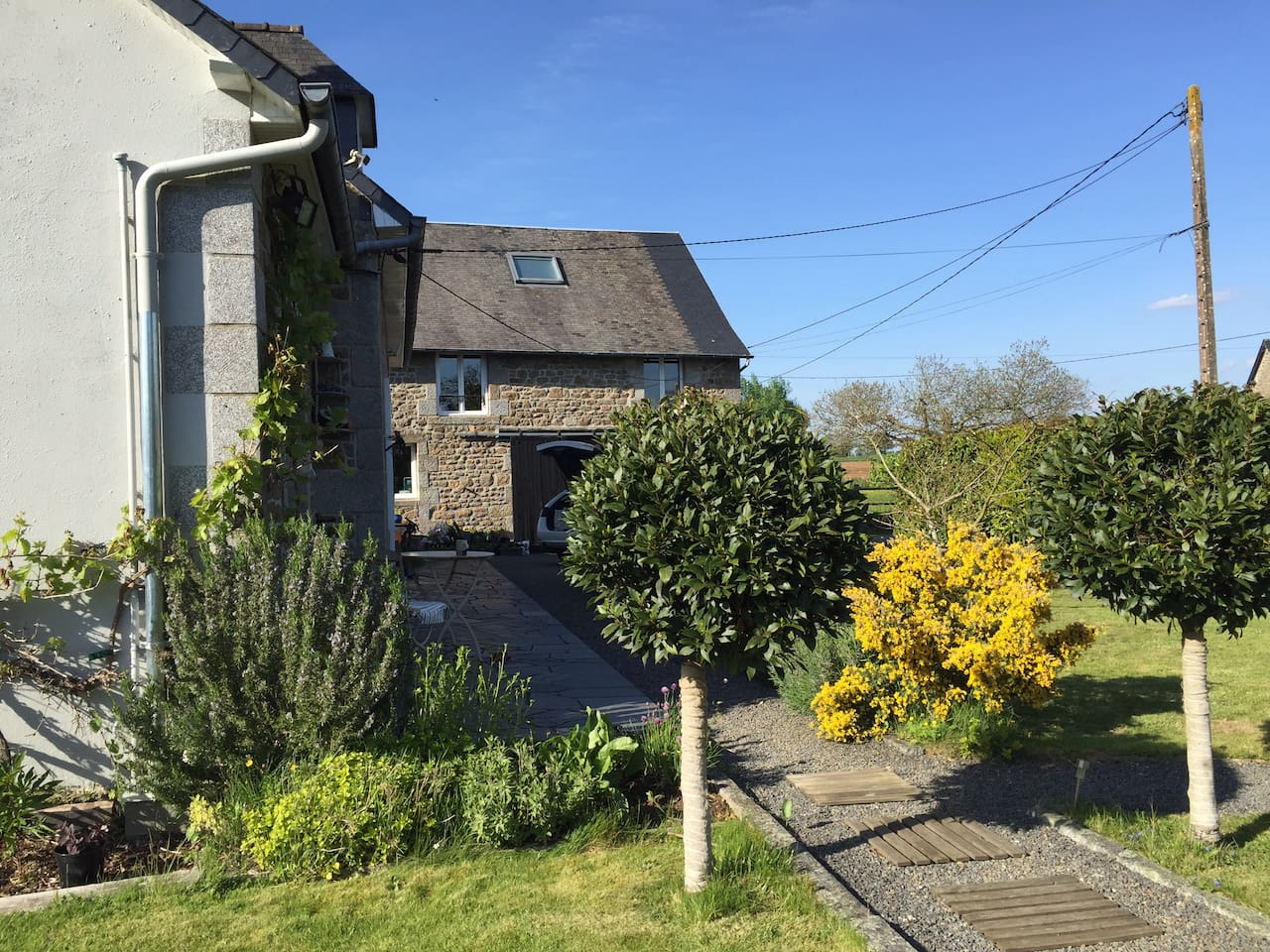 Brittany Barn The room has a private bathroom with bath shower and separate toilet. The barn can be used, it has a recreation room, exercise room and lounge with log burner upstairs. Close to Mont St Michel, St James Brittany  WW2 American Cemetery