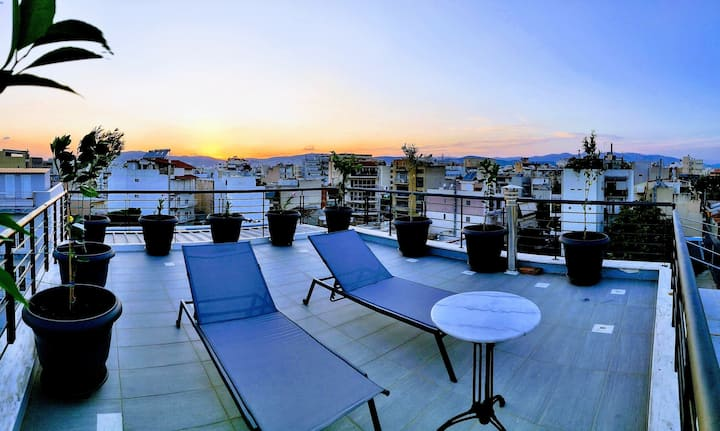 Elegant Bright Apartment - Acropolis view terrace