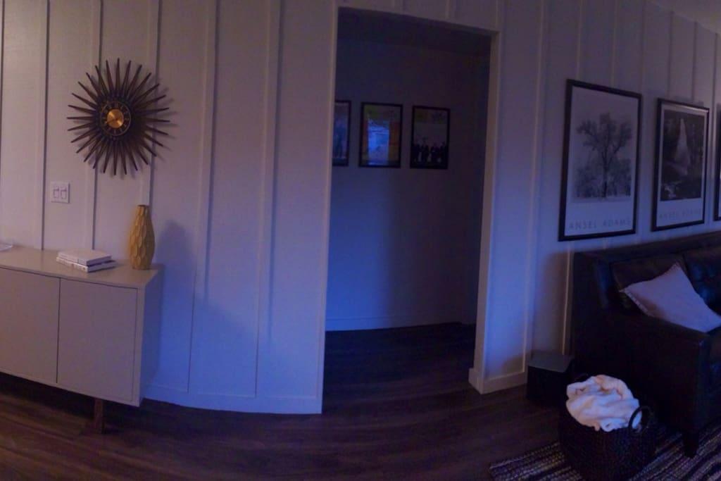 Hallway to 2 bedrooms and bath