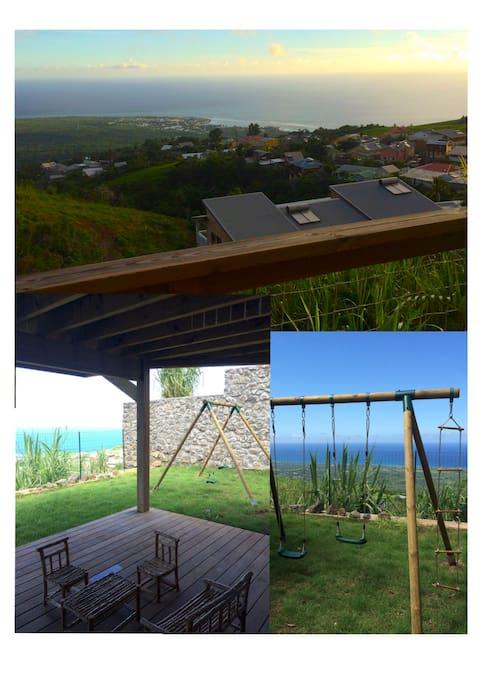 vue, terrasse du jardin et balançoire