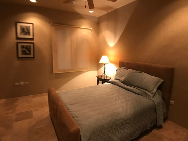 Spacious guest bedroom with a queen bed