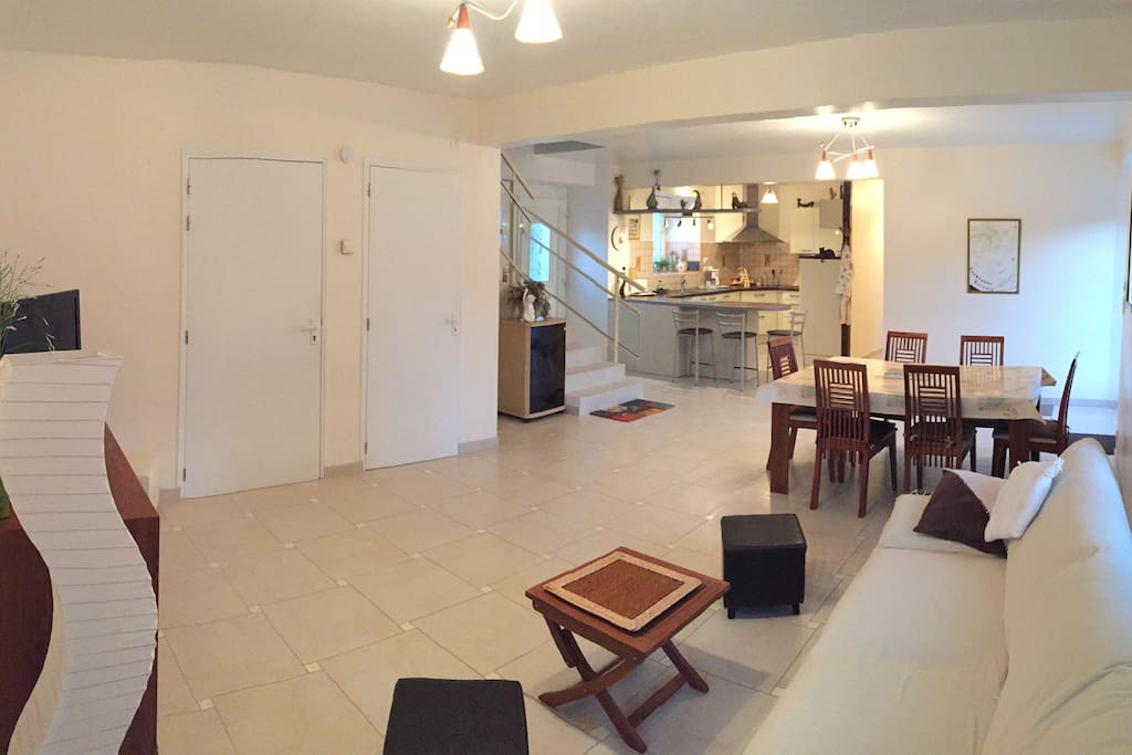 Living room, Dining room and open-plan kitchen