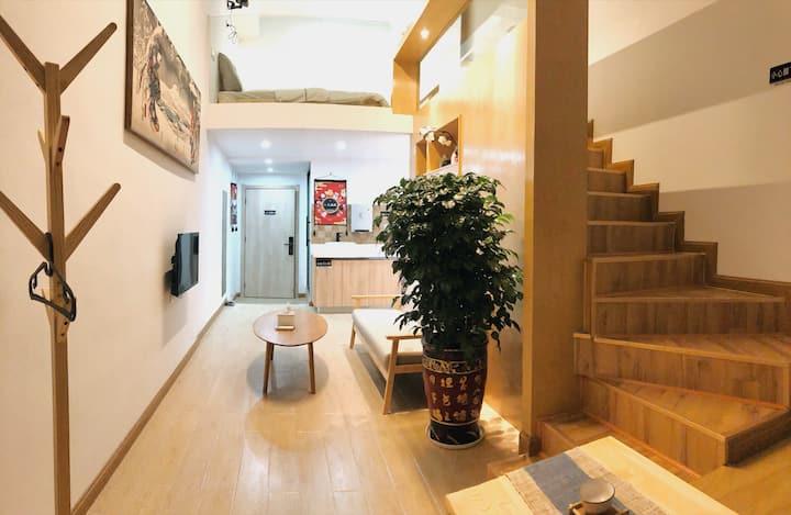 【素泊·泊雎】新天地loft复式 投影仪 影院房 日式 商业中心