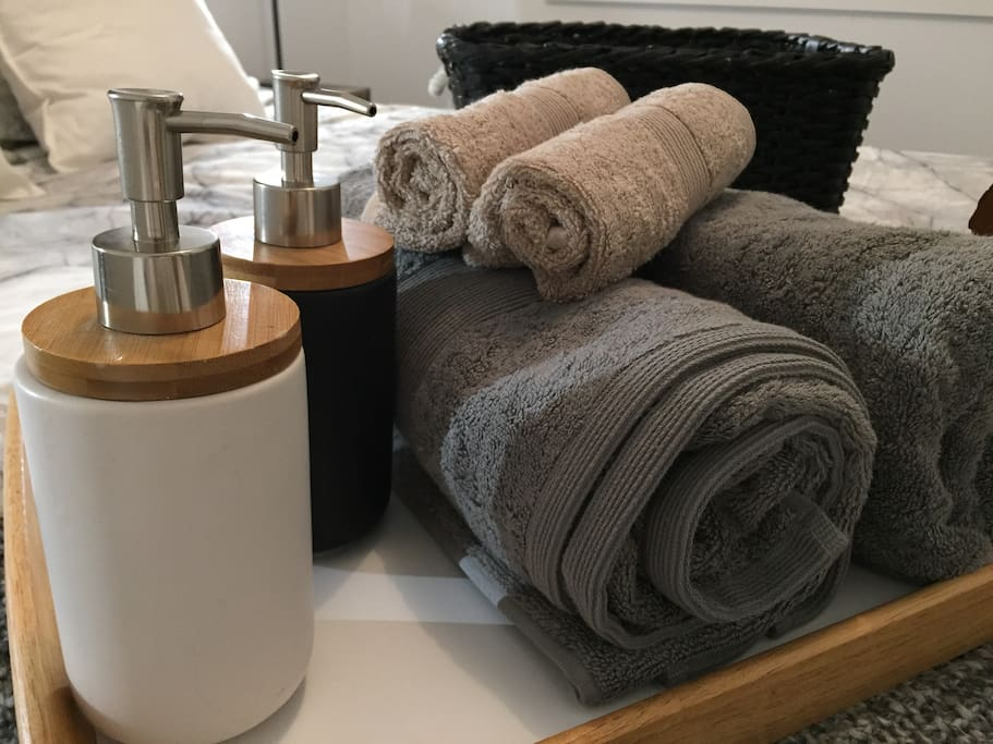 Bath towels, face towels, body wash and shampoo