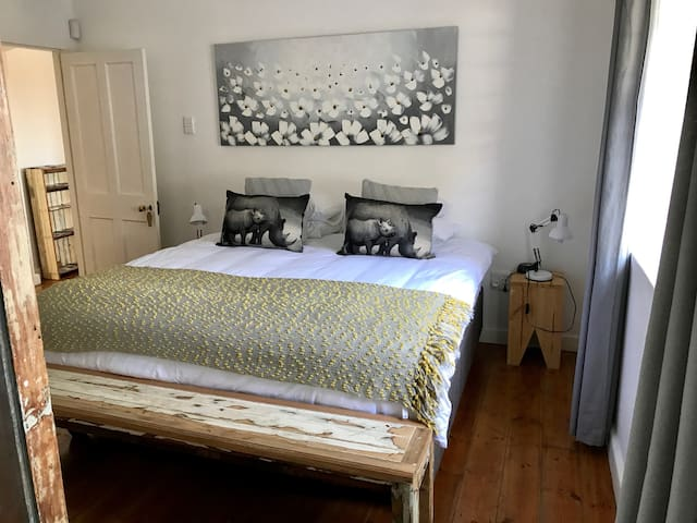 New kingsize bed in spacious bedroom with en suite shower