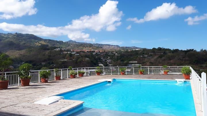 Appartement F3 centre Papeete piscine vue Moorea