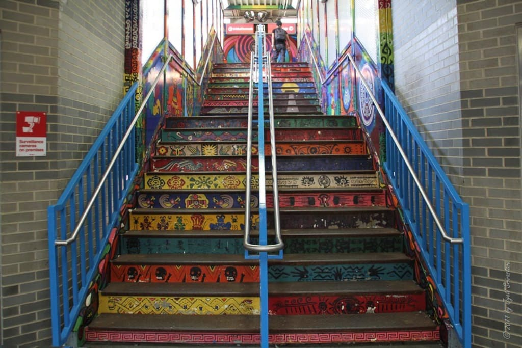 18th Pink Line Station stairs