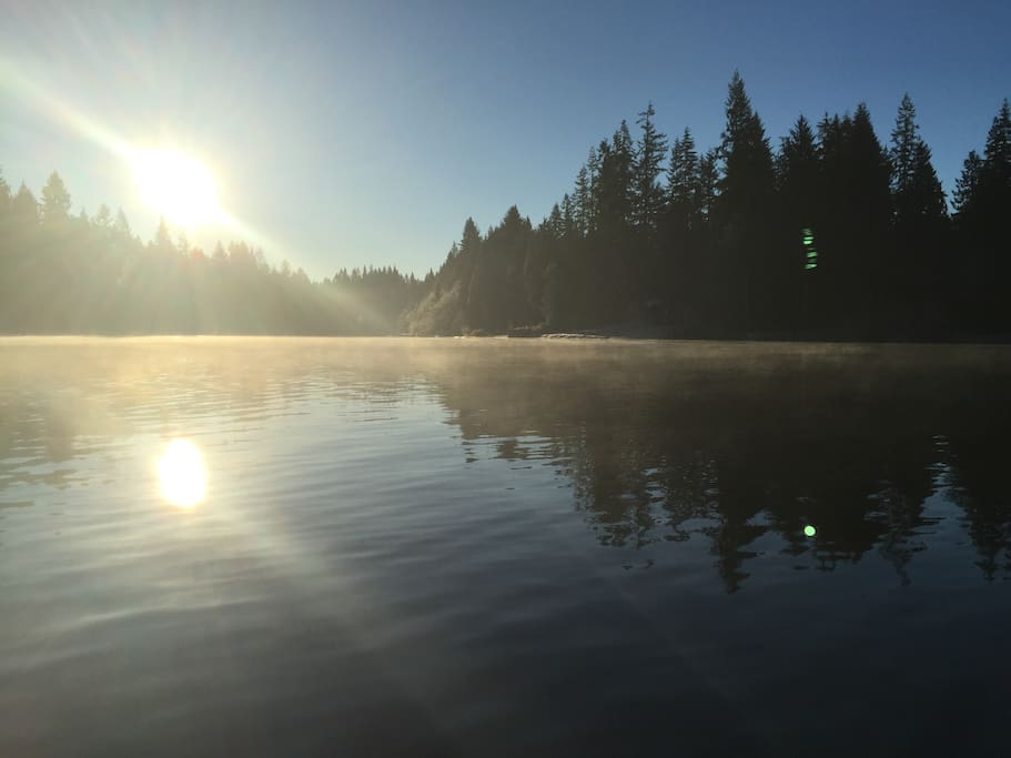 Morning view of the lake.