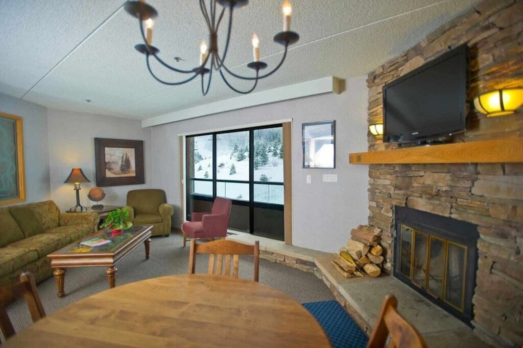 Kick up your feet and watch a movie while warming your toes by the beautiful wood-burning fireplace.