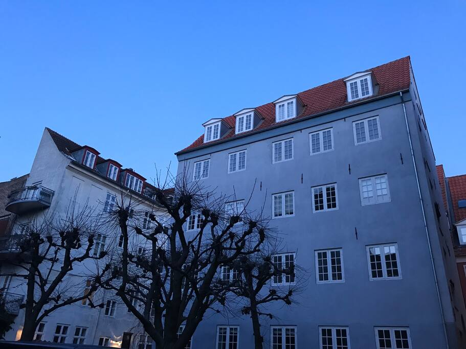 This lovely apartment is in the bottom floor of this blue Christianshavn house.