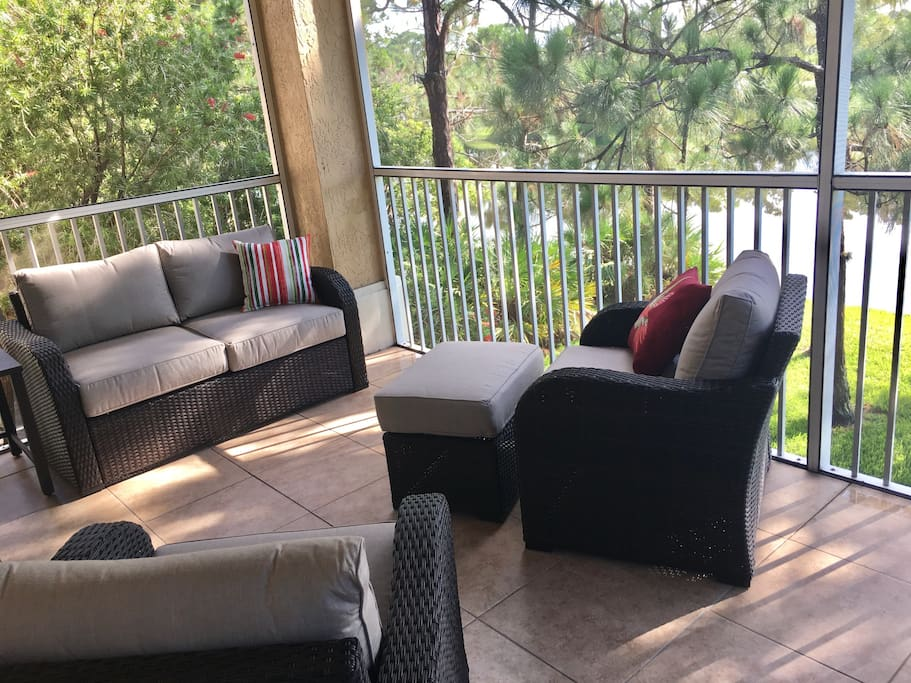 Enjoy your morning and evening beverages on the screened-in balcony