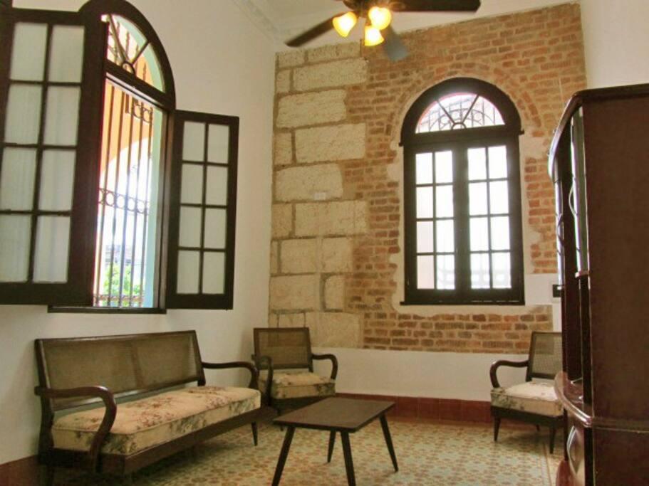 Living Room - Uncovered Original Brick/Stone Wall