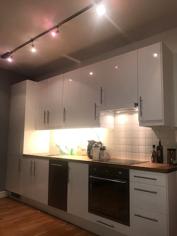 Kitchen with all the facilities you need. Oven, washing machine, Coffee machine, utensils, cutlery plates etc etc