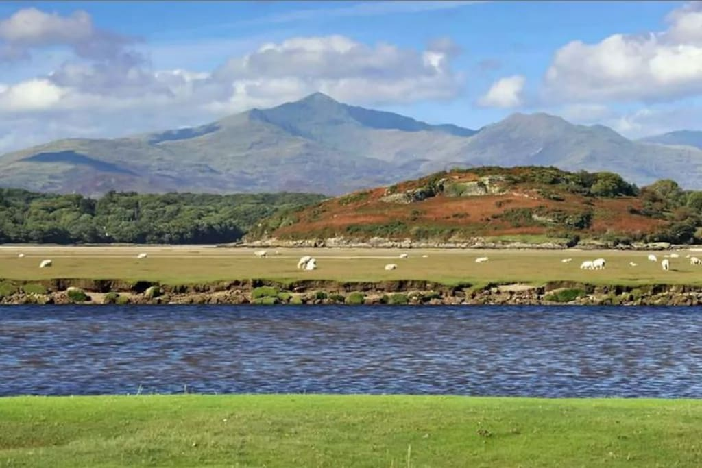 View over the estuary towards Snowdon