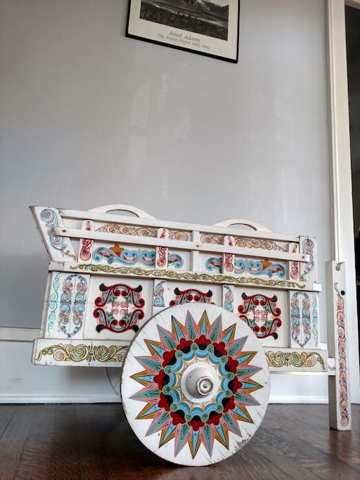 Whimsical vintage ox cart from Costa Rica