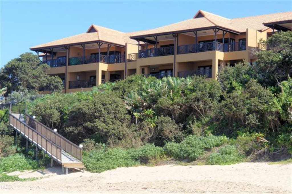 View of complex from the beach - direct beach access with no roads or railway lines to cross to get to the beach