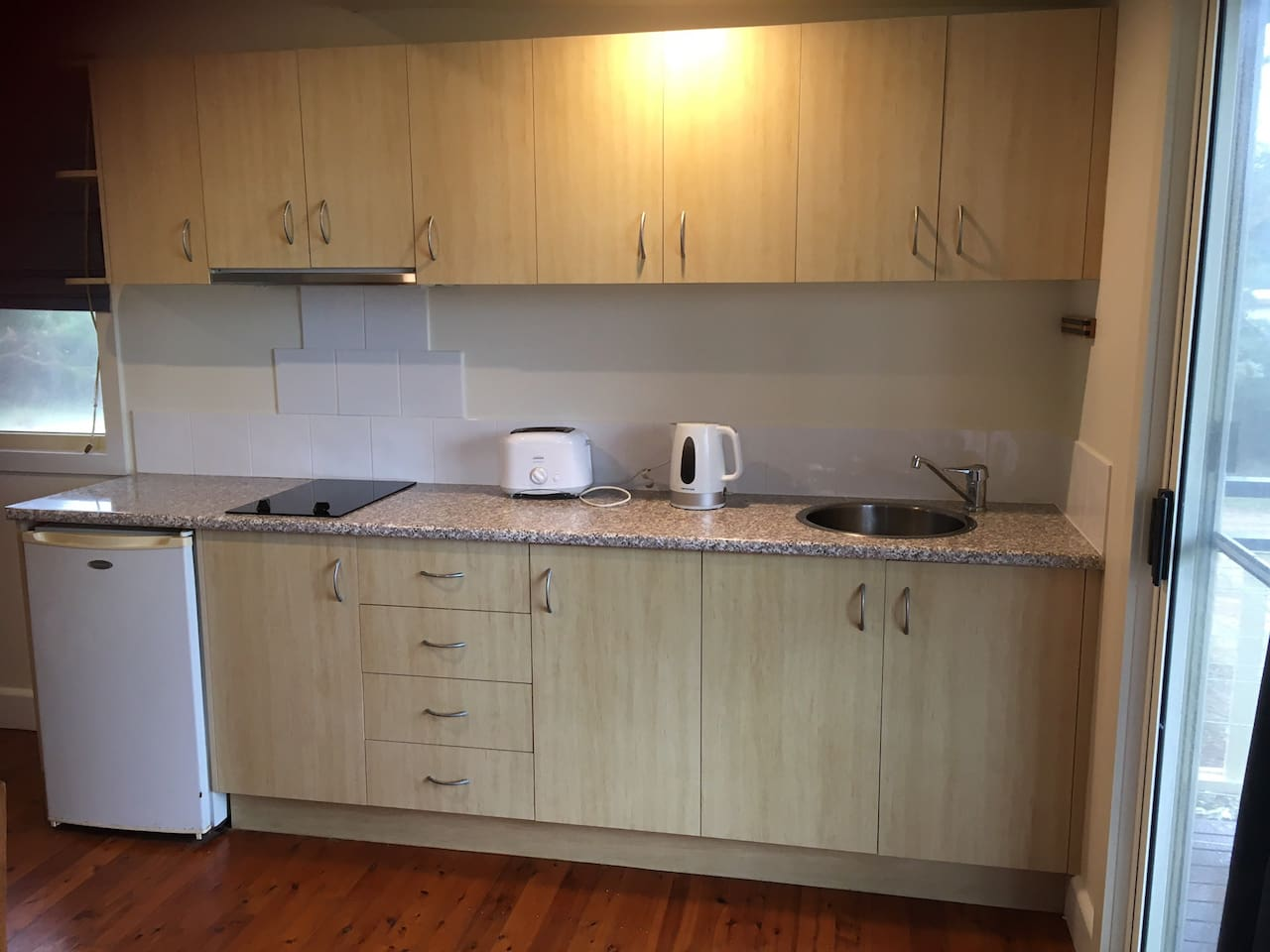 Kitchenette.  The cooktop has been disconnected due to council regulations.