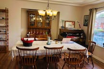 Large dining table, used as study area, guests are welcome to join in :)