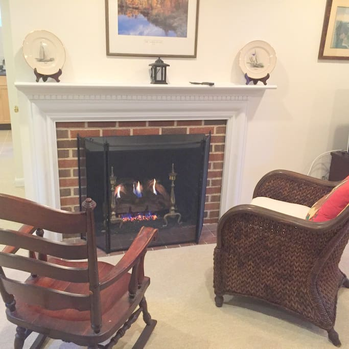 Gas fireplace w/chairs for reading or a glass of wine