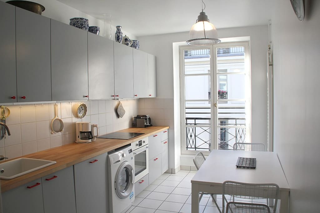 Brand new kitchen, washing machine and a dryer. Dish washer. Induction stove. Nespresso coffee machine and a filter coffee machine. Bread toaster, water boiler and more.
