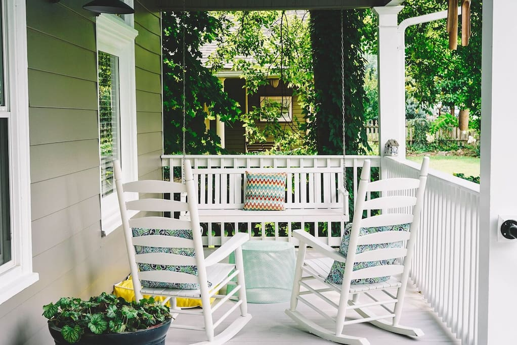 Front Porch  with swinging bench